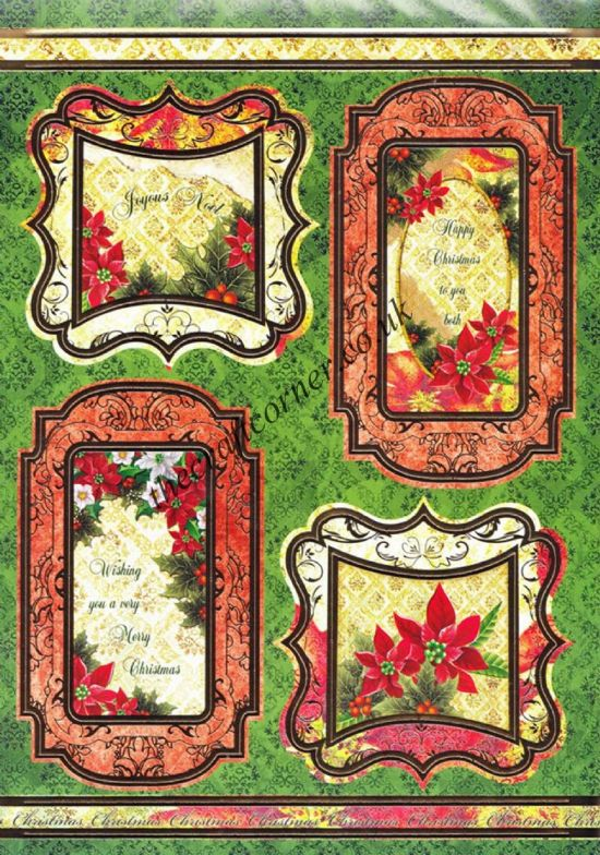 Die Cut Foil Christmas Flower Toppers and Backing Card from Craft UK Ltd